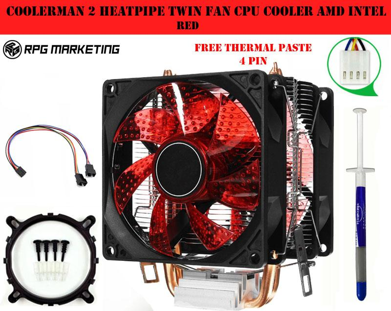 Coolerman 2heatpipe Twin fan CPU Cooler Amd Intel