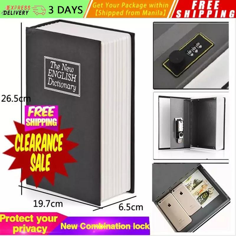 [New Arrival] Metal Steel Dictionary Mini Safe Box Book Money Hidden Secret  Security Safe Lock Cash Money Coin Gun Hidden Jewellery Storage Key Locker