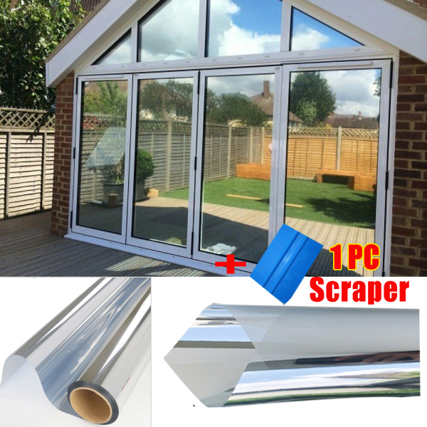 JUTBONG Heat Control UV Blocking Non-Adhesive Easy to apply One Way Mirror Window Film Daytime Privacy Window Glass Sticker Frosted Glass Film