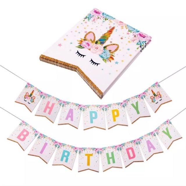 Unicorn Happy Birthday Letter Banner 2meters By Ahpartyneeds.