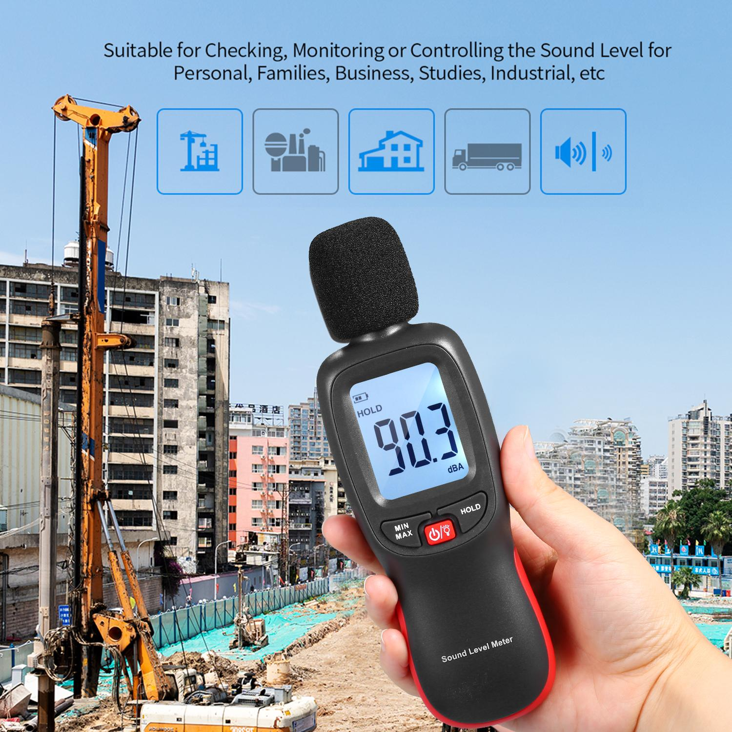 Mini LCD Digital Noisemeter Sound Level Meter 30-130dB Noise Volume Measuring Instrument Decibel Monitoring Tester with Max/Min/Data Hold Mode