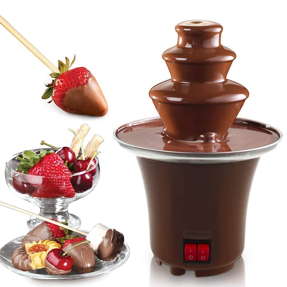 Mini Chocolate Fondue Fountain Stainless Steel 3 Tier Cascading Deluxe Electric Dessert 2-3 Lb Capacity For Party Wedding Hotel By Usje Trading.