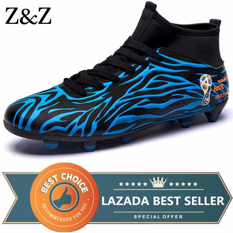 7a18e6d59 Z Z Men Soccer Shoes Men Football Boots Kids High Ankle Superfly Soccer  Cleats Long Spikes Football