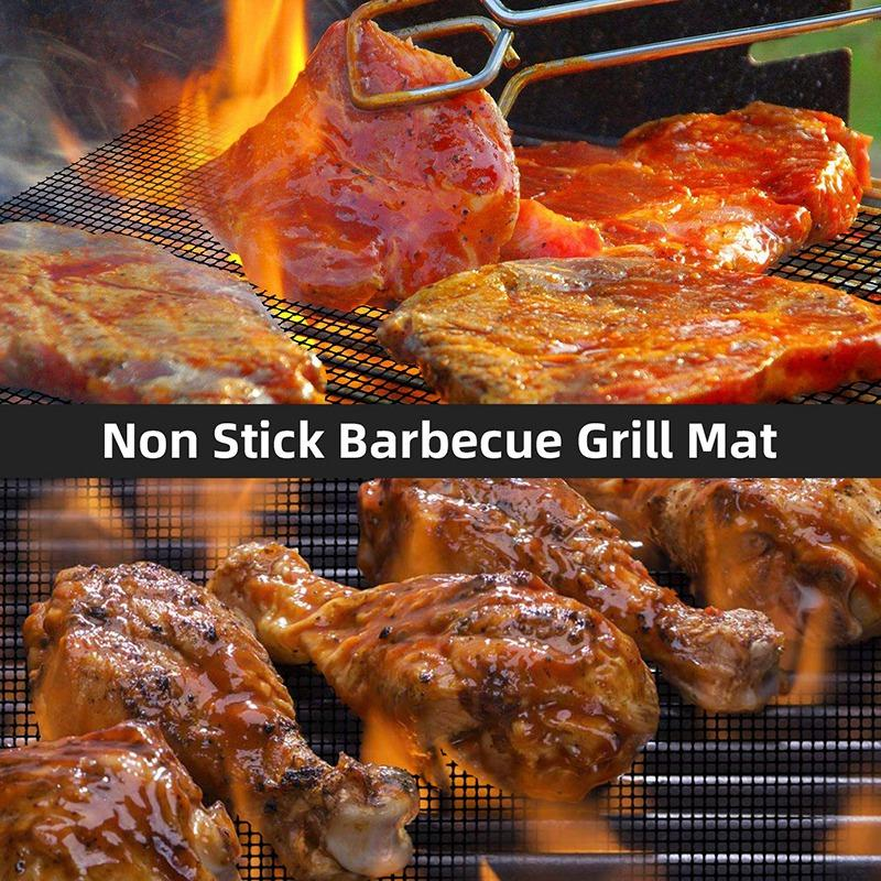 Non Stick Grill Mesh Mats Duty BBQ Grilling Baking Accessories Reusable,And Easy To Clean Works on Electric Grill Gas Charcoal BBQ