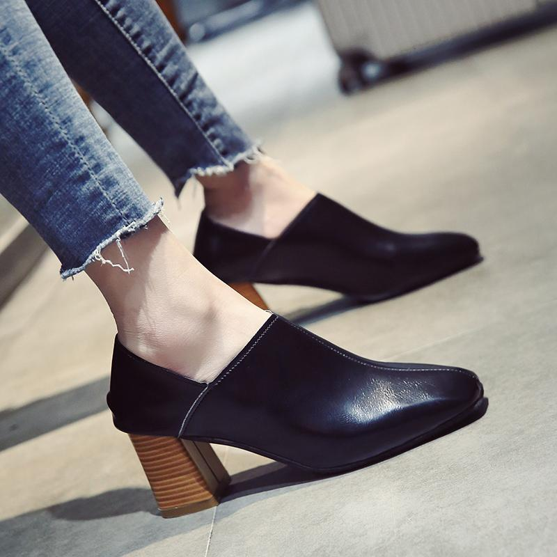 High Women New Heeled Style Grandma Korean Semi Head Heel Chunky Autumn Vintage Double Square Shoes 2019 Versatile xBrdCeWQo