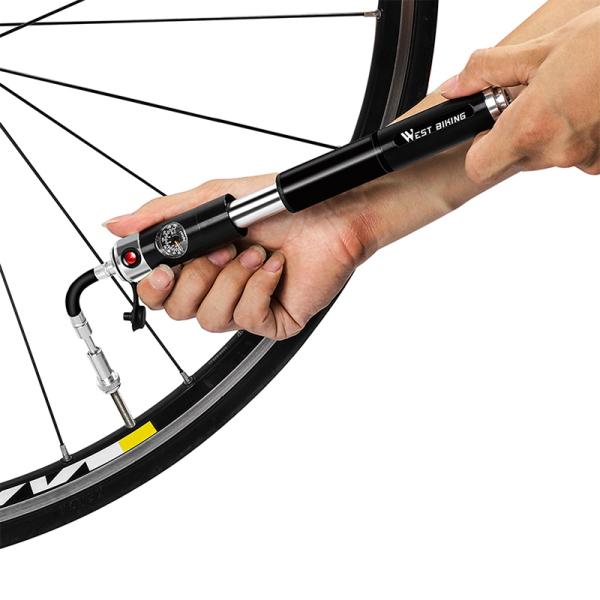 WEST BIKING Bicycle Pump Hand Air Pump Hose Pressure Gauge Cycling Tire Inflator Schrader Presta Valve Portable Pump