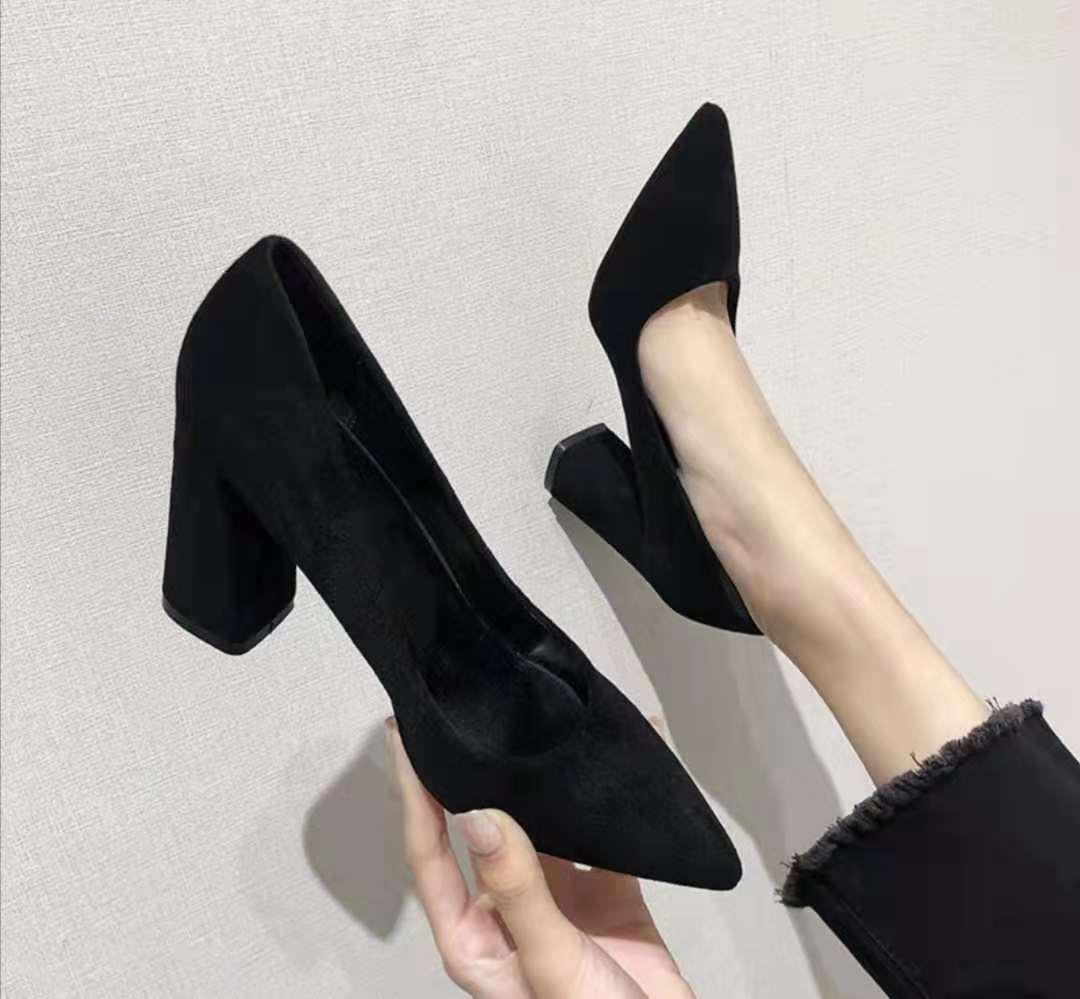 3 inches block heels black fashion