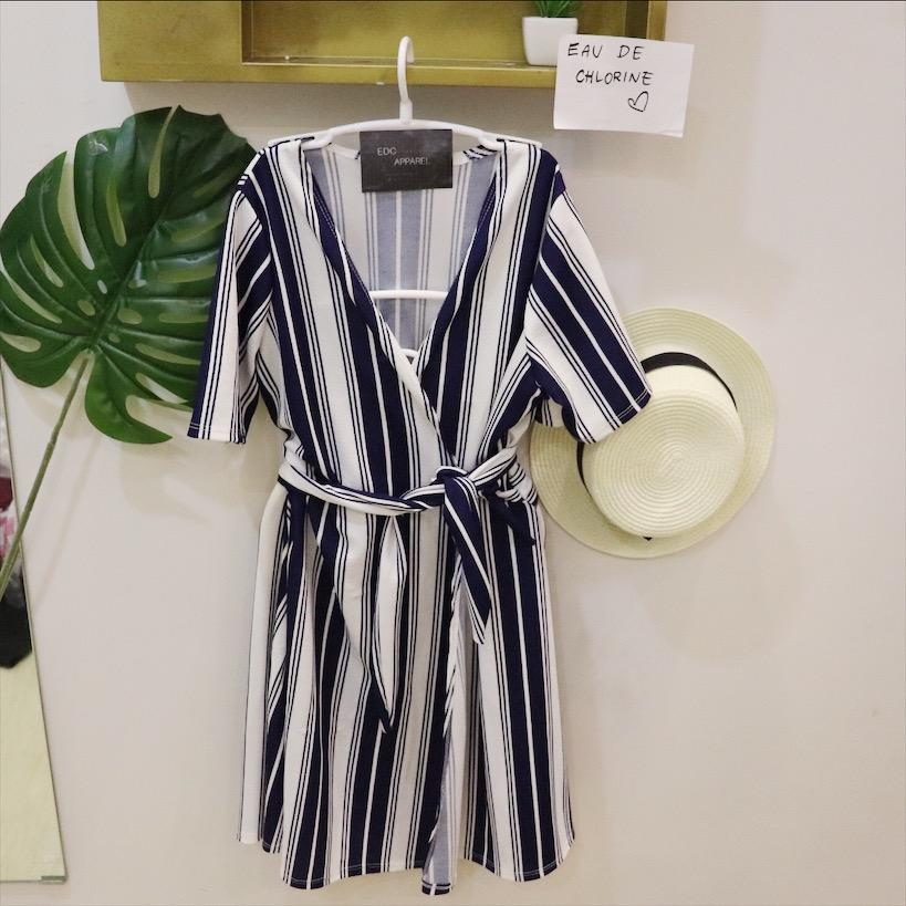 2d63f05d537 Niki Stripes Dress Wrap Around Dress Wrap Dress Mustard Dress Blue Dress  Simple Dress Plain Dress