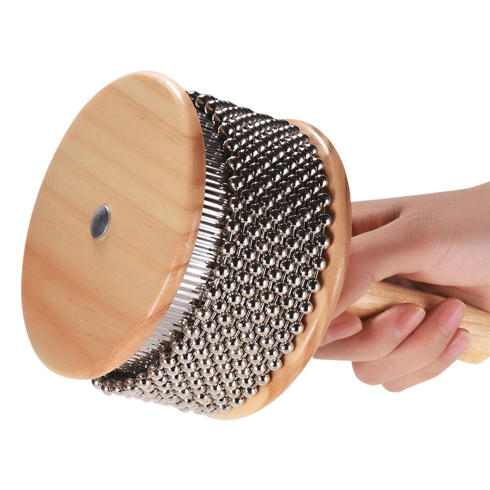 Wooden Cabasa Percussion Musical Instrument Metal Beaded Chain & Cylinder Pop Hand Shaker for Classroom Band Medium Size