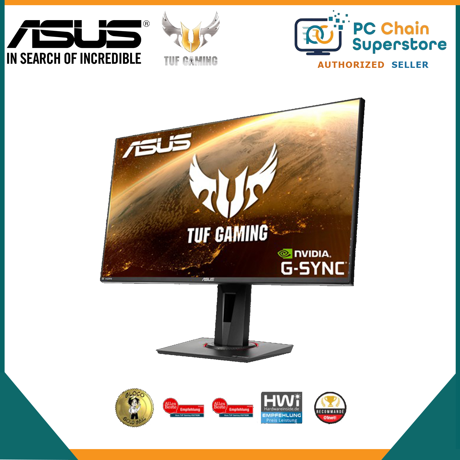 ASUS TUF Gaming VG9QM HDR Gaming Monitor – 9 inch FullHD (9 x 9),  Fast IPS, Overclockable 9Hz, 9ms (GTG), ELMB SYNC, G-SYNC Compatible,