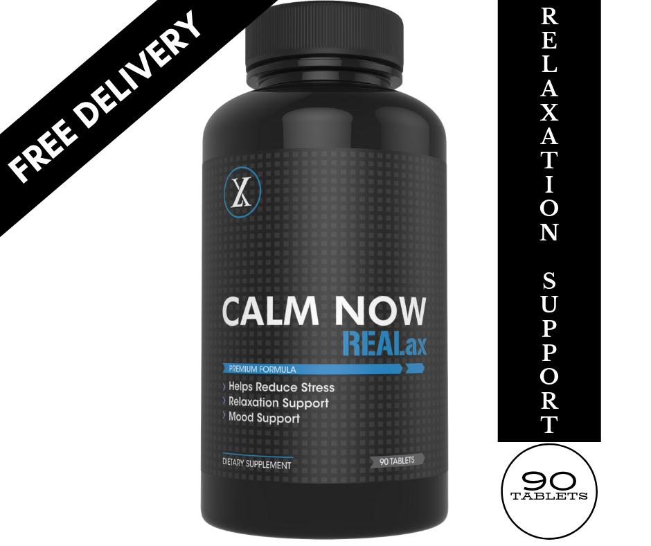 CALM NOW REALax - Natural Anti Stress Supplement for Men & Women - Helps  Reduce Stress, Feel calm & more Relaxed -Non GMO Formula - Made in USA - 90
