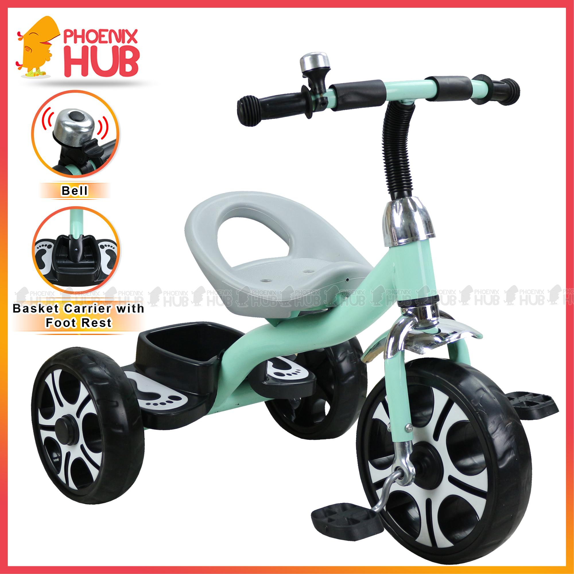 Phoenix Hub K01 Ride On Bike Hand Push Bike Tricycle Bike with Rear Basket  Carrier and Footrest