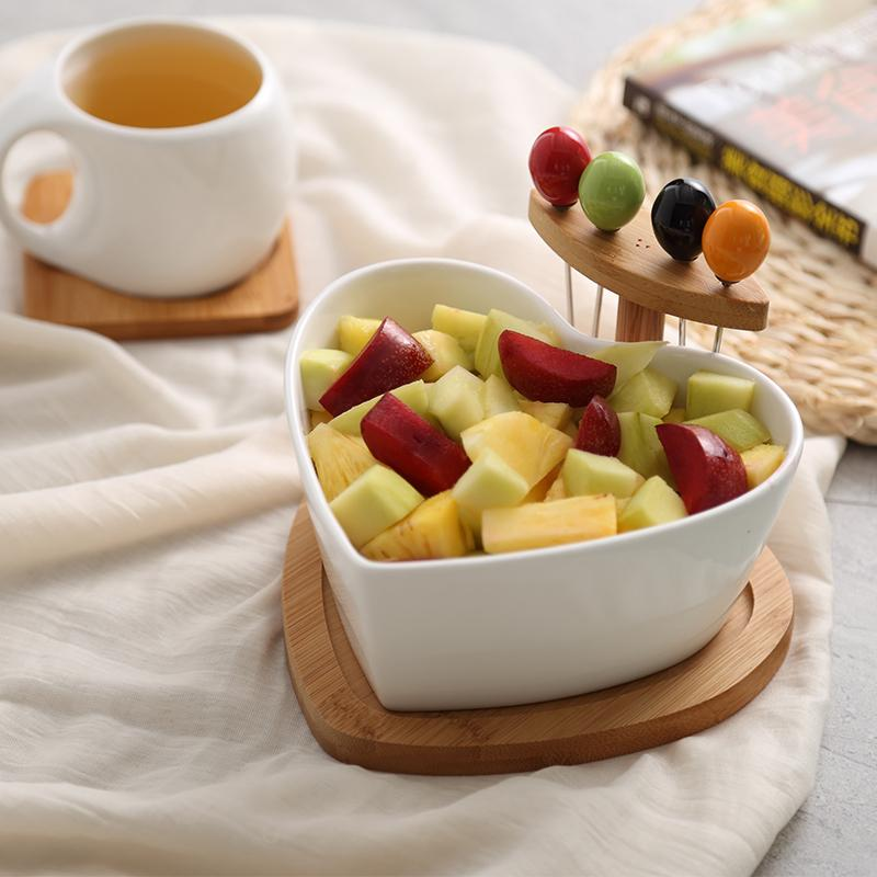 Creative Dried Fruit Tray Ceramic Salad Bowl With Fork Household Fruit Dish Northern Europe Living Room Candy Dish Snacks Dessert Plate By Taobao Collection.