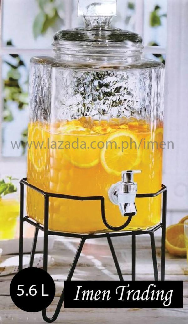 "MASON JAR GLASS DISPENSER "" With stand, 5.6 Liter · """