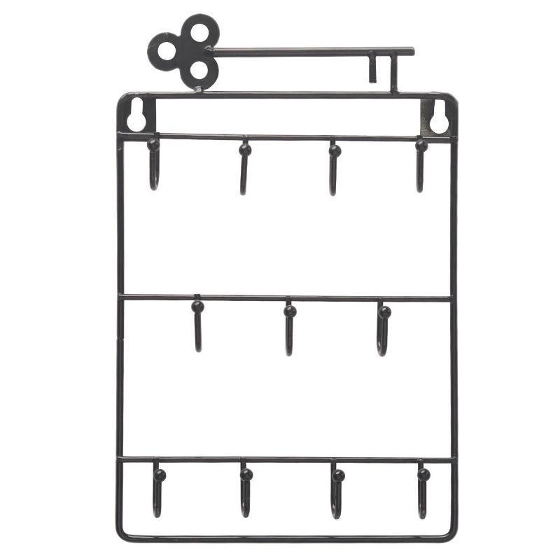 Iron Wall Mounted Hooks 11 Hangers Decorative Key Holder Coat Hat Rack Home Decor Storage Organizer Key Holder Wall Black