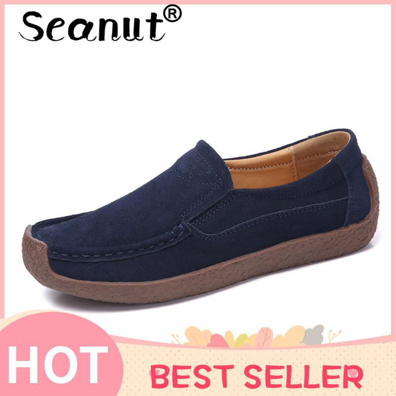 9037bb56fdd7 Seanut Women Leather Slip On Flats And Loafers Women Breathable Lightwear Shoes  Casual Loafers Breathable Lazy