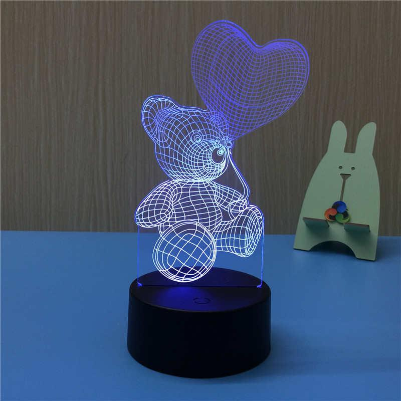 Led Night Lights Colorful Led Rabbit Shape Romantic Fashion 7 Color Changing Gifts Night Light Home Use 3d Visual Acrylic Easter Day Table Lamp Elegant In Style