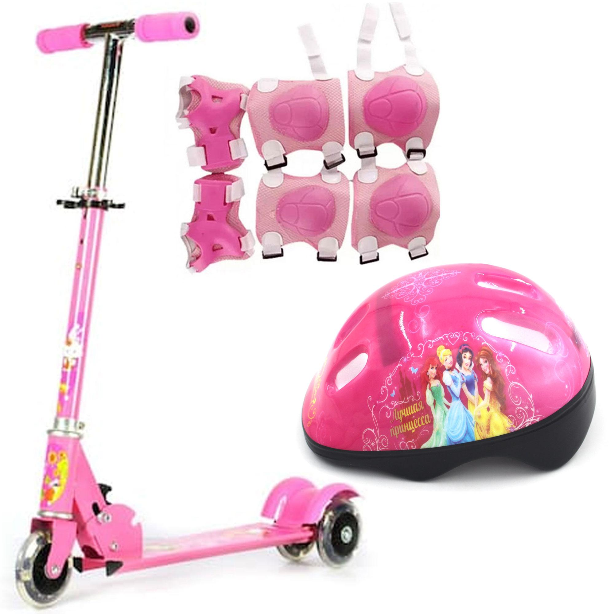 Little Jr 3 Wheels Scooter (pink) With Protective Pads For Cycling 6-Piece Set (pink) And Kids Bicycle Helmet By Gonzalez General Merchandise.