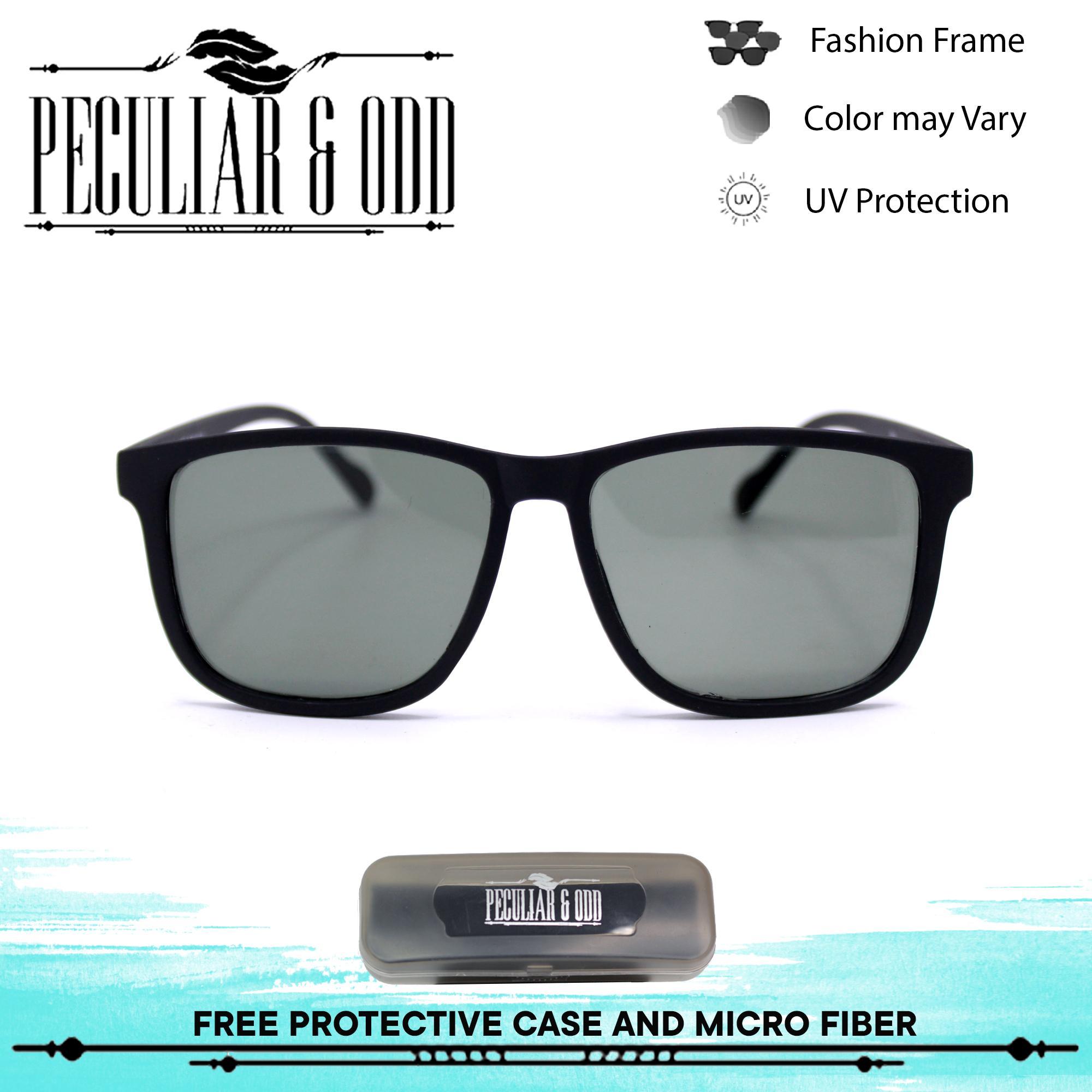 bf5783e169b Peculiar Black Glass Classic Lightweight Sunglasses in Acetate Frame Glass  Lens Unisex