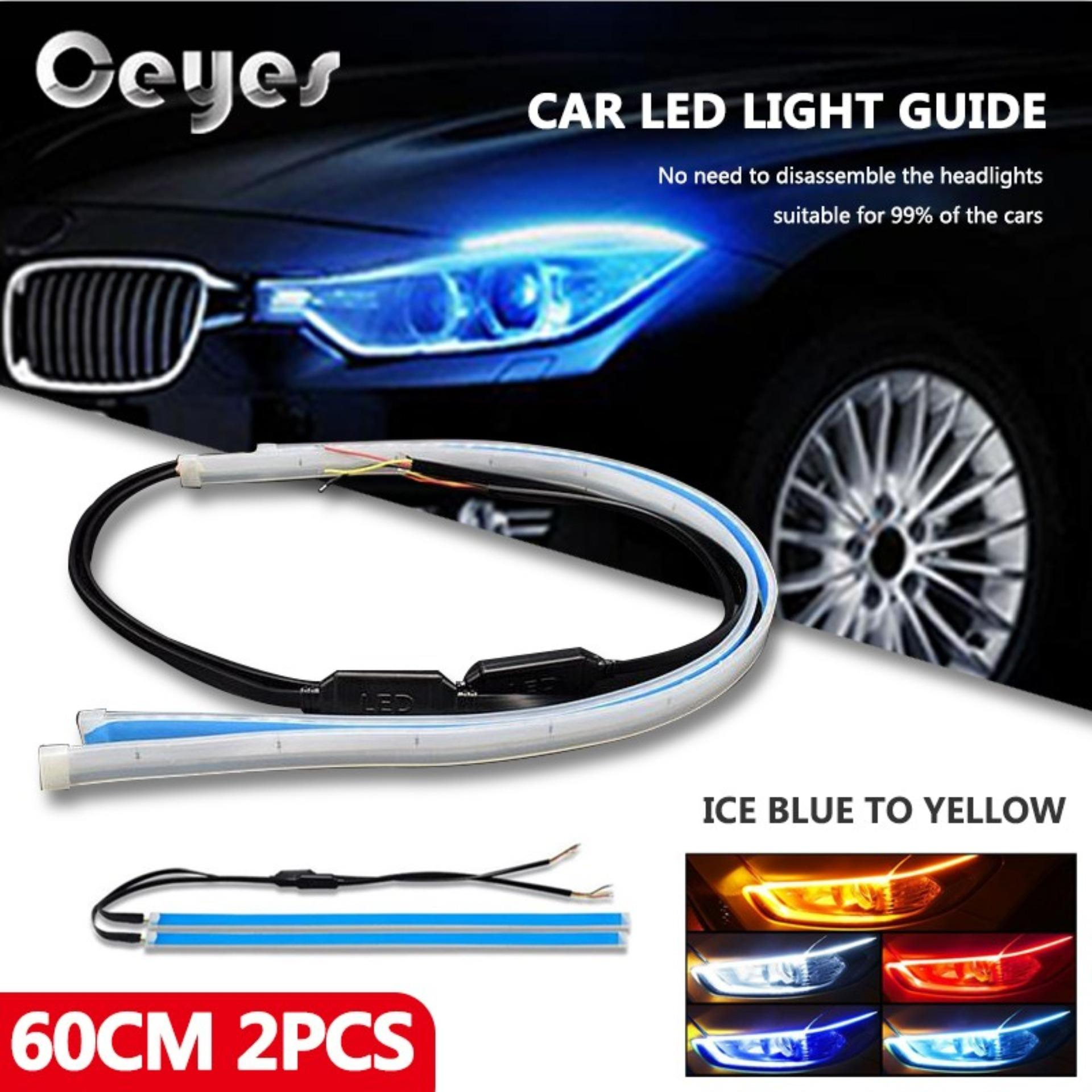 60cm 2pcs Auto Lamps Ultra Thin External Streamer Light Guide Two Color For Cars Drl Led Daytime Running Lights Car Styling Accessories Turn Signal