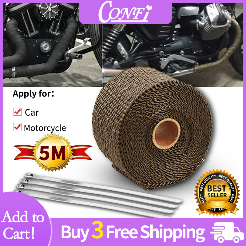 5M Brown Motorcycle Turbo Manifold Heat Exhaust Wrap Tape Thermal Stainless Tie