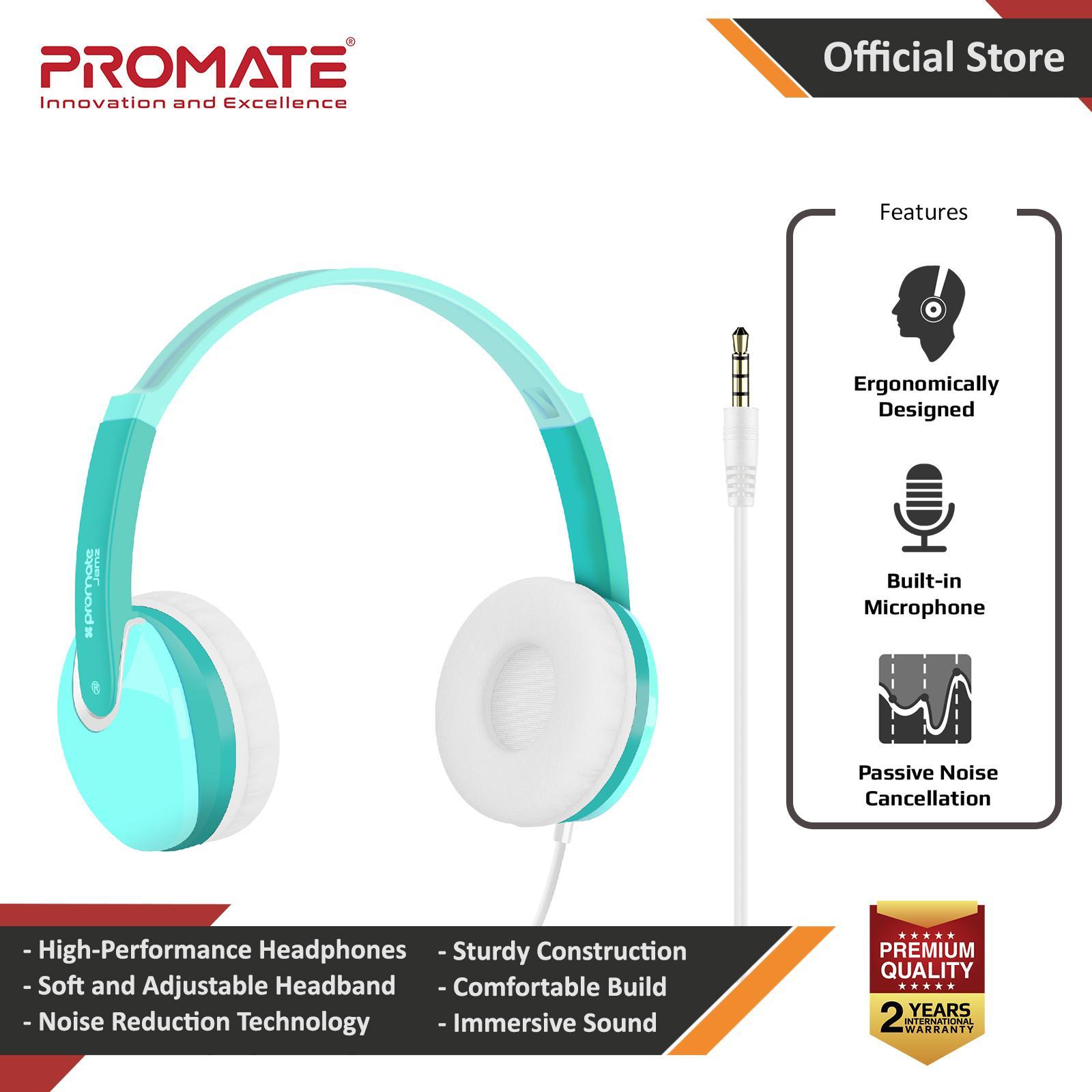 5d6ab2d6aca Promate Jamz Kids Headphones, Lightweight Over-Ear Wired HiFi Stereo  Adjustable Headphones with Built
