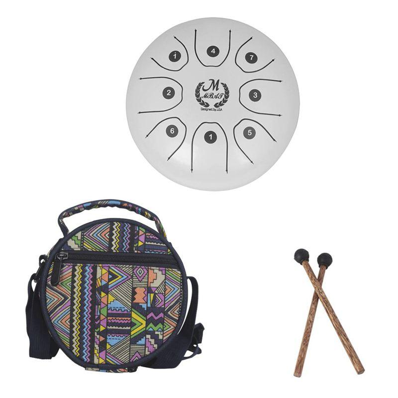 MMBAT 5.5 inch small size steel tongue drum with C D E F G A B C 8 notes with free case and rubber mallets for children instrument