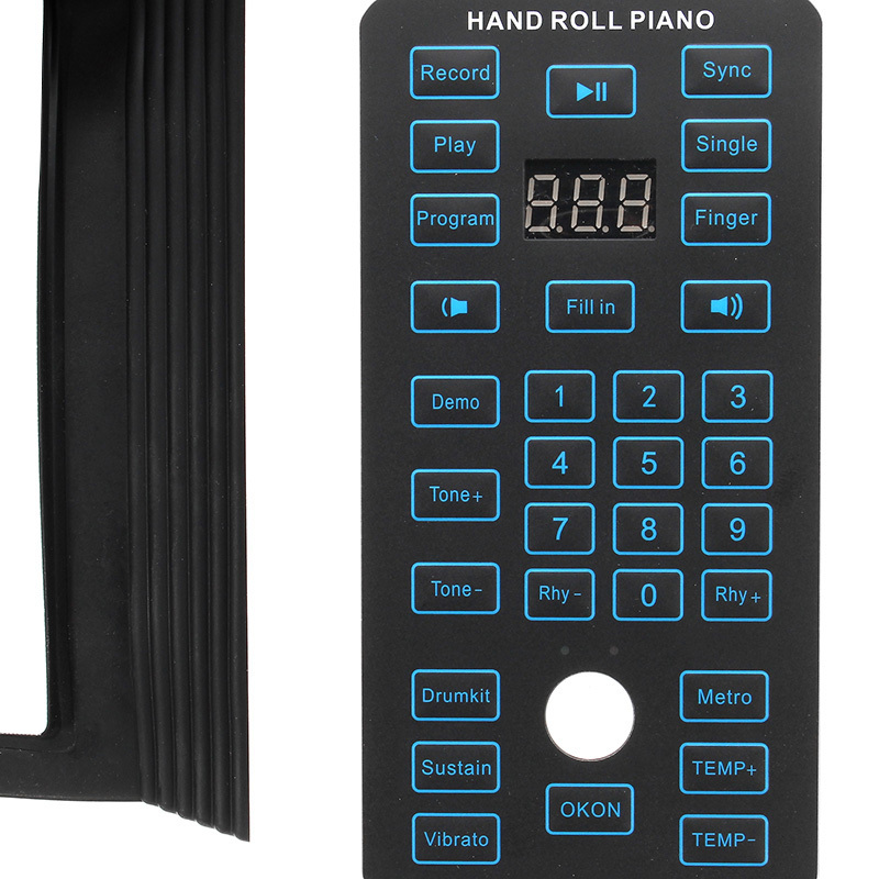 Hot 88 Keys Rechargeable Keyboard Roll Up Piano With Microphone Speaker Musical Instrument Electric Accessory Black