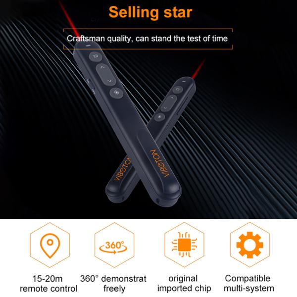 Giá VIBOTON PP-936 2.4G đa phương tiện điều khiển từ xa không dây cho PowerPoint trình bày trình bày con trỏ laser PPT Flip Pen