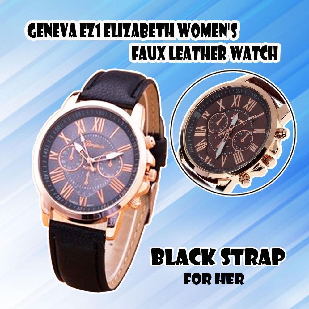 b173a03981 Geneva EZ1 elizabeth Women's Faux Leather Watch Luxury Brand Geneva Women  Casual Leather Watch Dial Roman