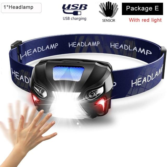 LED Motion Sensor Headlamp Headlight USB Rechargeable Head Flashlight