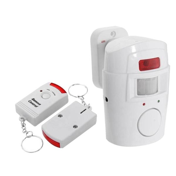 Infrared Motion Sensor Alarm - Burglar Alarm with 2 Remote Controls, Suitable for Home/Garages/Shops