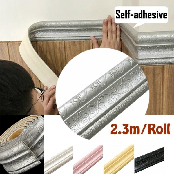 Fzbm 2.3M Self-adhesive 3D Pattern Wallpaper Waist Line Wall Sticker Border Living Room Removable Waterproof Wall Decor