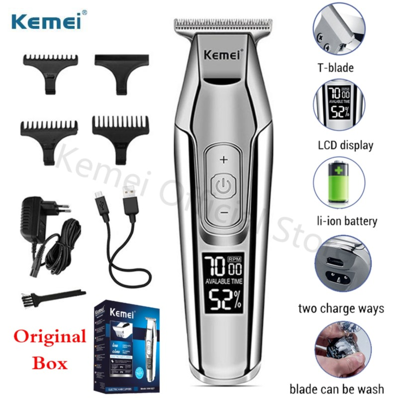 Kemei Professional Barber Hair Trimmer LCD Display 0mm Beard Canopy Trimmer for Men DIY Electric Cutter Haircut Machine