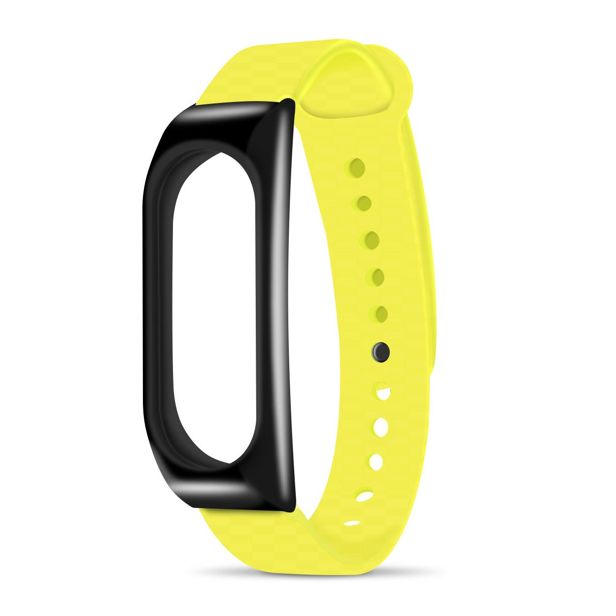 Xiaomi Mi Band 2 Metal Replacement With Jelly Wrist Strap (black Yellow) By Hellotronics.