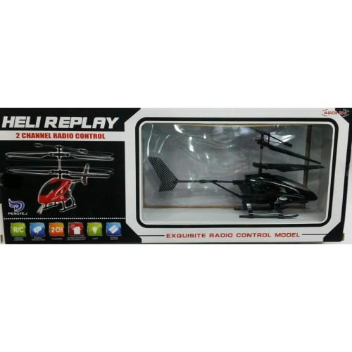 Phoebes Heli Replay Helicopter Toy 2 Ch Radio Remote Control - Black By Phoebes.