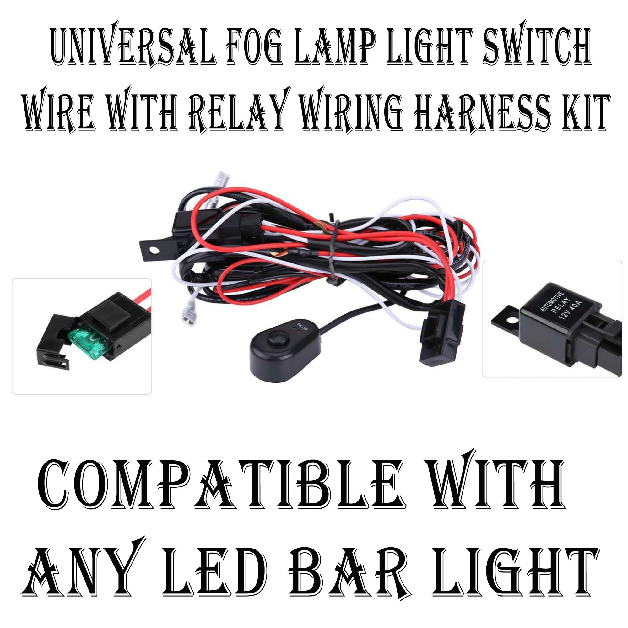 Car Motorcycle Universal Fog Lamp Light Switch Wire With Relay Wiring Harness Kit For Led Lights 12v Lazada Ph