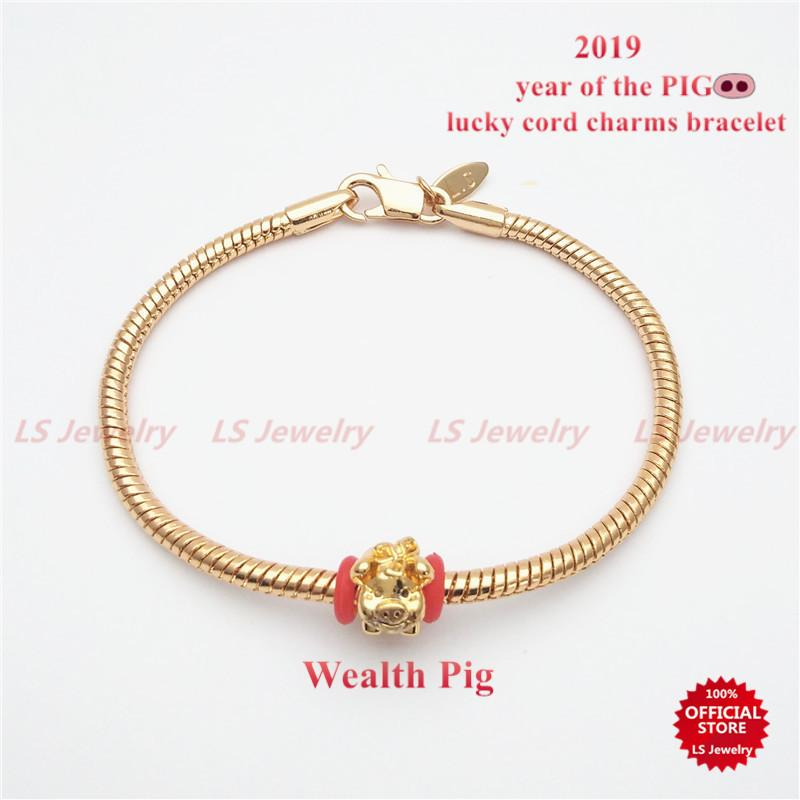 LS Jewelry Lucky gold string Bracelets Lovers Hand Braided Bead Bracelet the Chinese Year of the