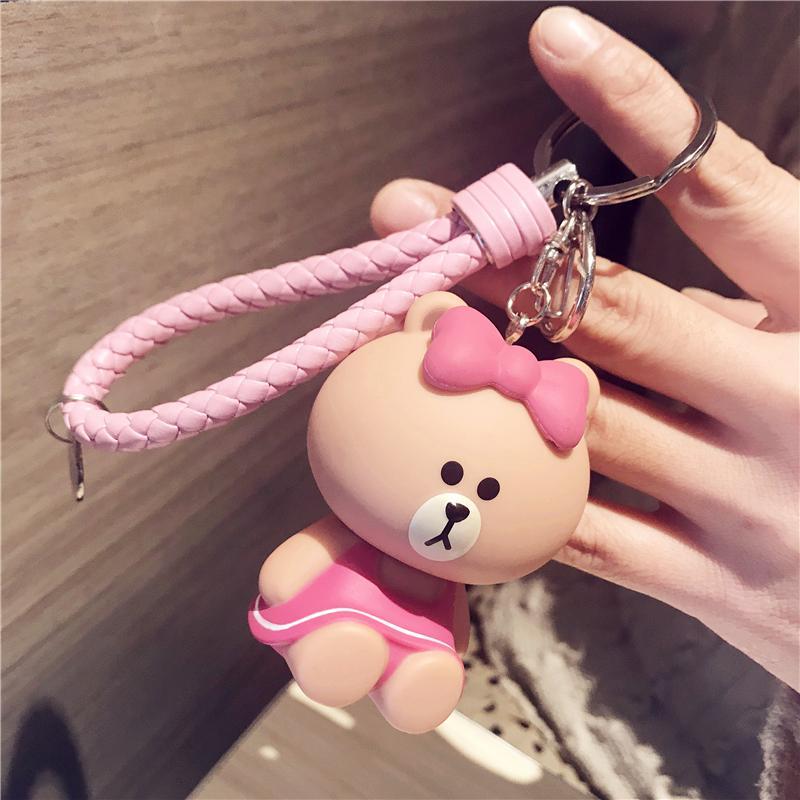 สาธารณรัฐเกาหลีน่ารักตุ๊กตาหมีไลน์พวงกุญแจหญิงรถยนต์พวงกุญแจการ์ตูนตุ๊กตาเครื่องประดับกระเป๋าผู้หญิงของขวัญ By Taobao Collection.