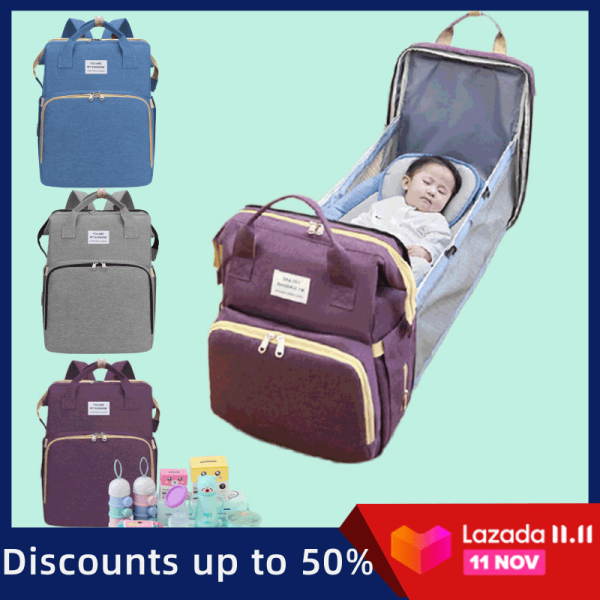 Giá bán Gấp Tiện Lợi Nôi Túi Mommy Bag Dung Tích Lớn Đa Chức Năng Chống Nước Ba Lô Trẻ Em Với Tã Túi Giường