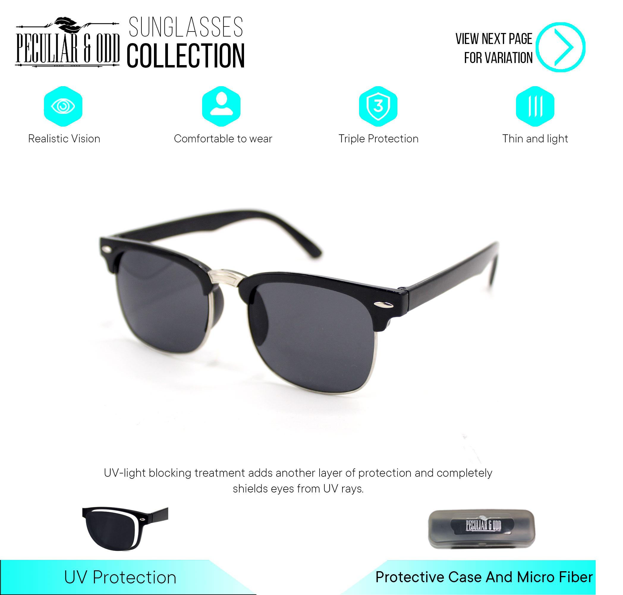 Peculiar Clubmaster Classic Sunglasses 3398 With Black Lens In Black Frame By Salimars Trading.