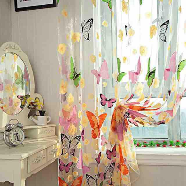 Washable Butterfly Printed Window Curtain 1m*2m By Jingzuan.