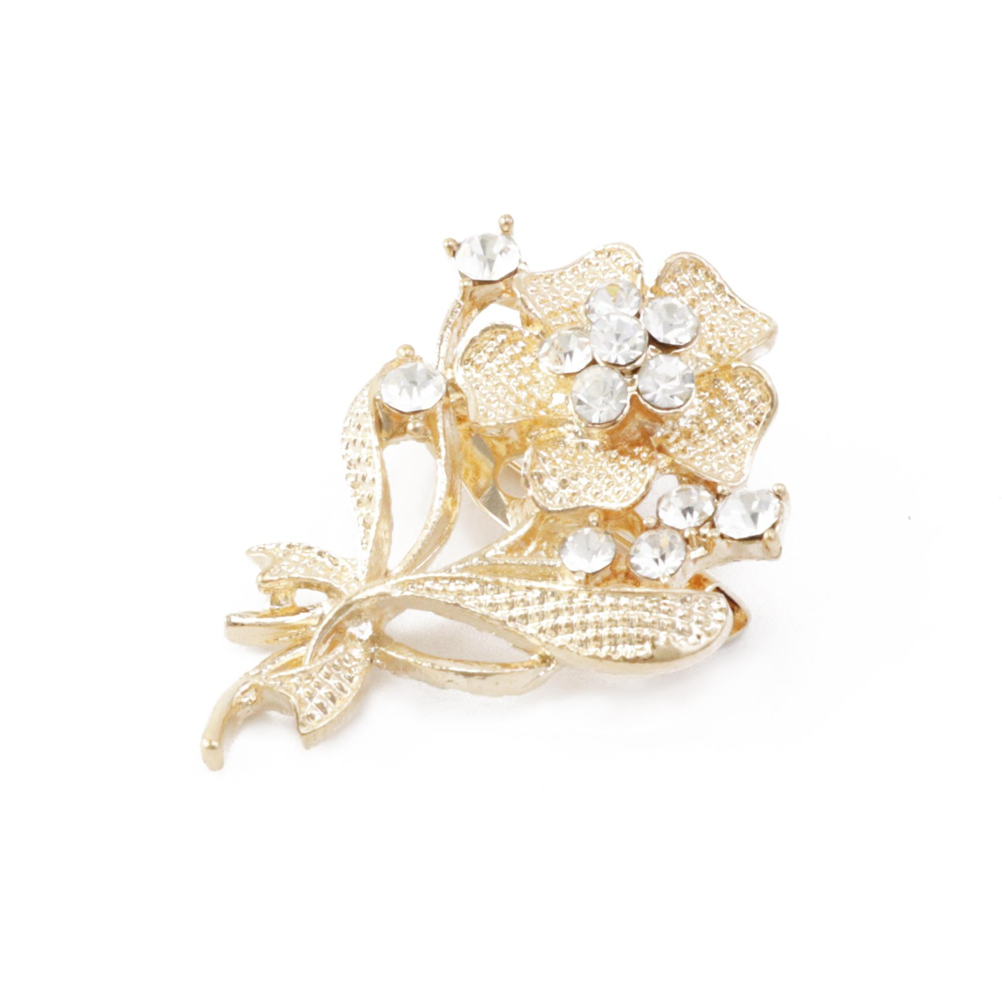 Twinkle Fashion-Elegant Gold Rhinestone Brooch-C00462