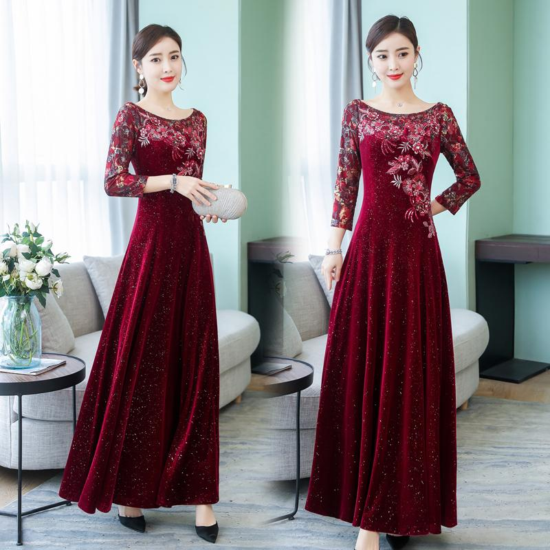 99cf090deb 2019 Spring New Style Elegant Slim Fit Nobility Lace Embroidery Flash Gold  Velvet Light Luxury Evening