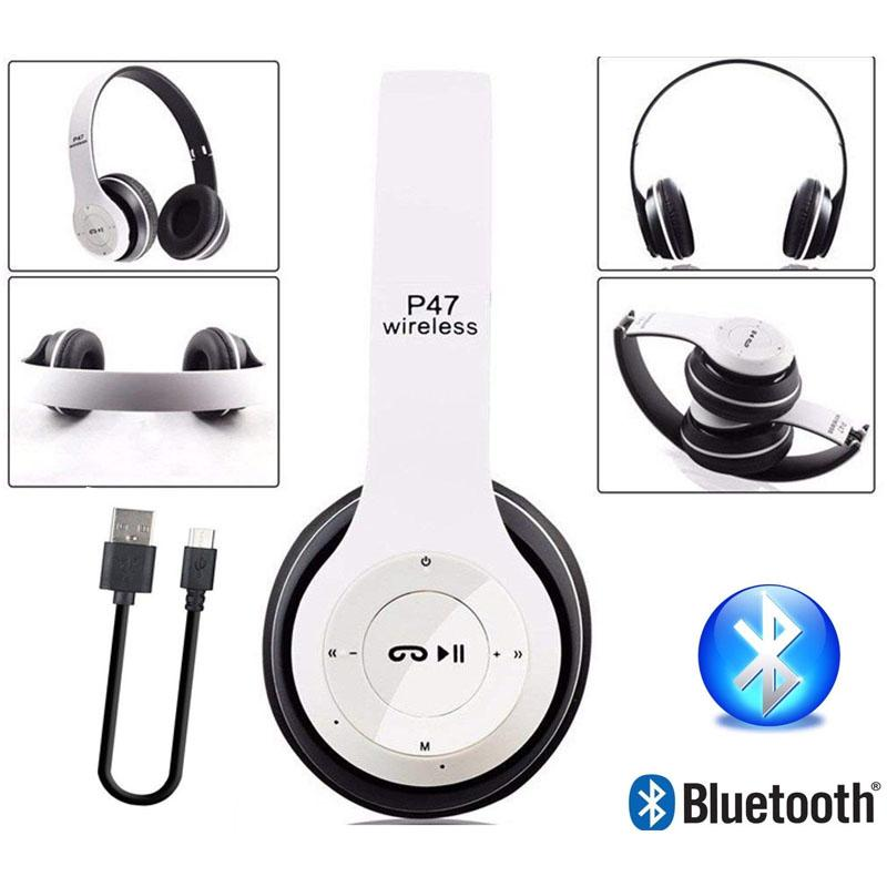 P47 Wireless Bluetooth Headphones TF Card/FM Stereo Radio Mp3 Player  Foldable EDR Wireless Headset