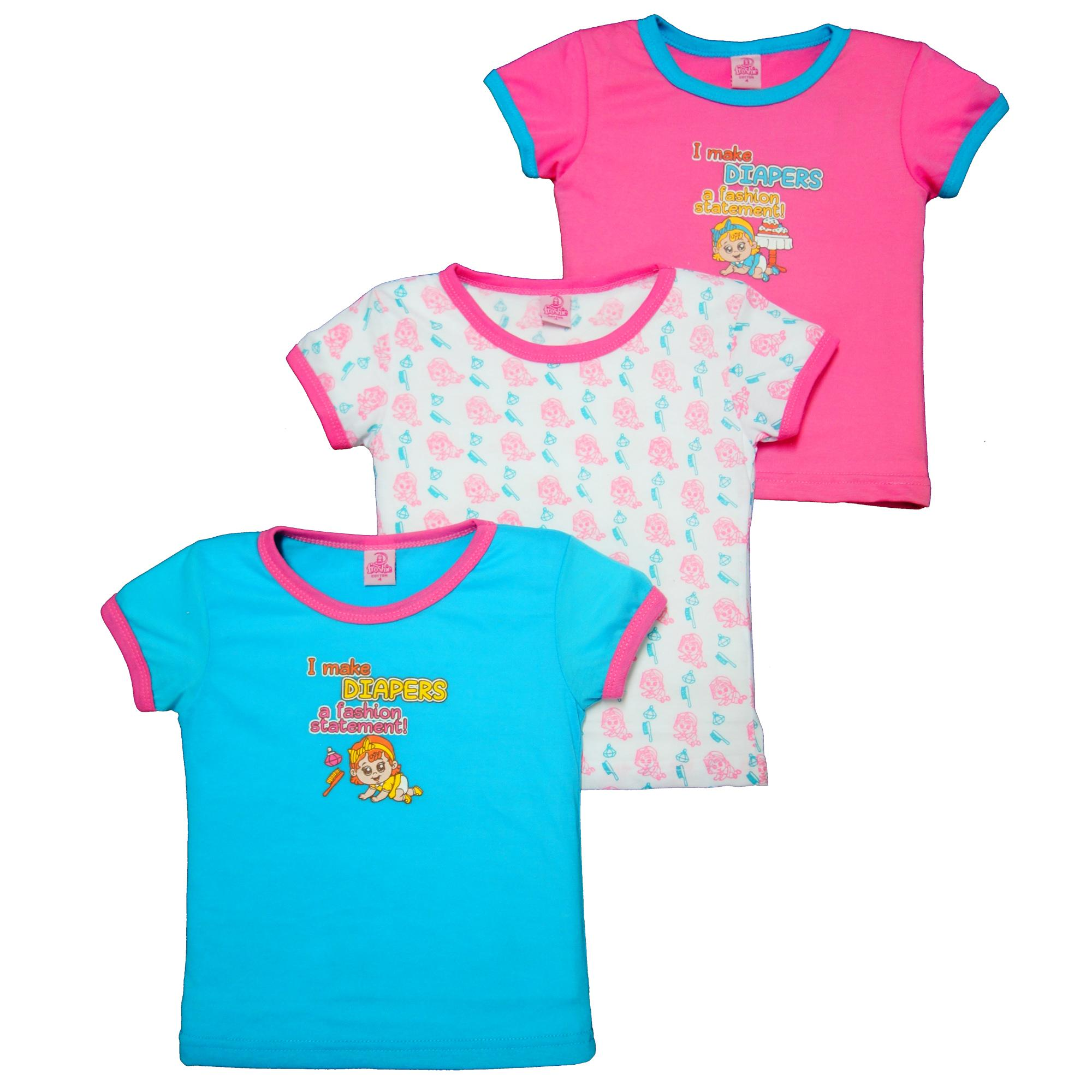 Froshie 3-Piece Baby Cotton T-Shirt (i Make Diapers A Fashion Statement) By Froshie.