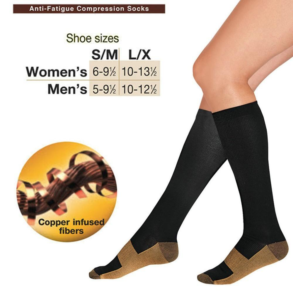 7d6fc7c3fd5 Great-King Unisex Anti-Fatigue Compression Socks Copper Infused Fibers  Miracle Stockings-black