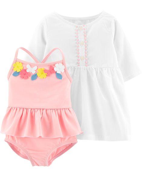 CARTER/'S® Girls/' 2T Floral 2 Piece Rashguard Swim Set NWT