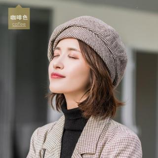 Mũ Nồi Nữ Thu Đông Phiên Bản Hàn Quốc Thủy Triều Mũ Hình Bát Giác 2019 Mẫu Mới Mốt Thời Thượng Mũ VEC Phong Cách Nhật Bản Phong Cách Retro Họa Tiết Kẻ Caro Mũ Họa Sĩ thumbnail