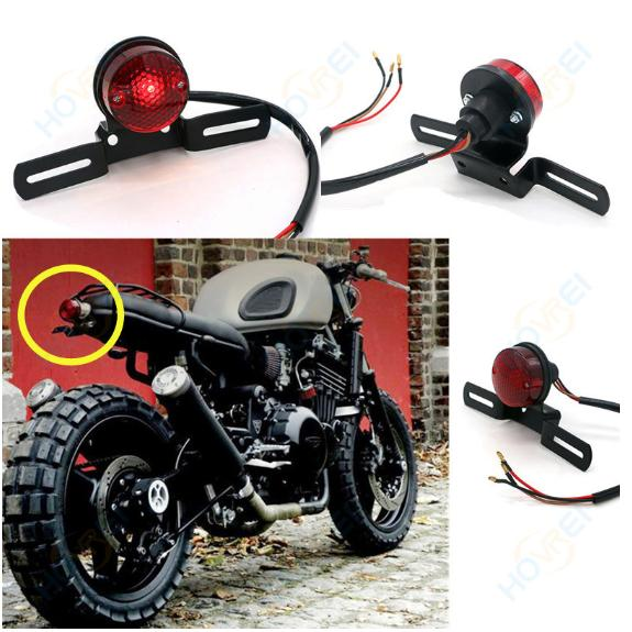 Universal Motorcycle Black Rear license Brake Tail Light 4 Harley Chopper Bobber